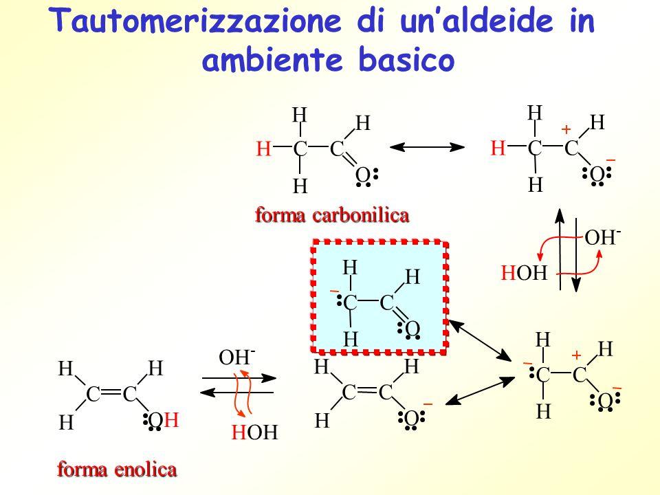 Tautomerizzazione di un'aldeide in