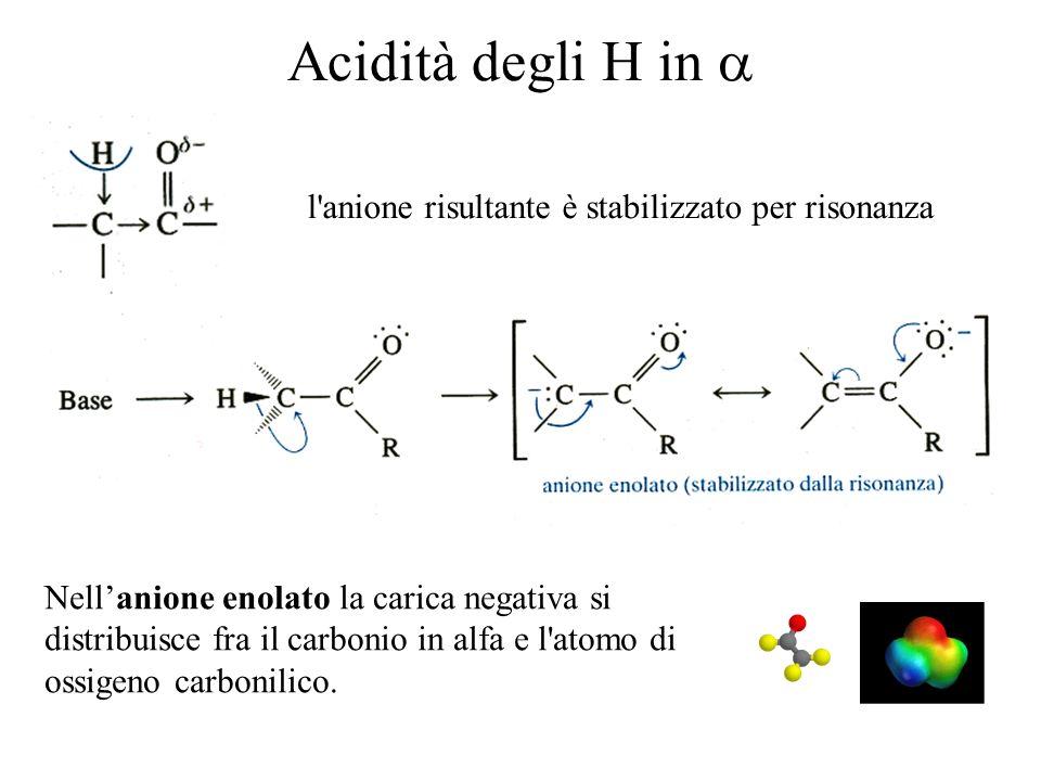 Acidità degli H in a l anione risultante è stabilizzato per risonanza