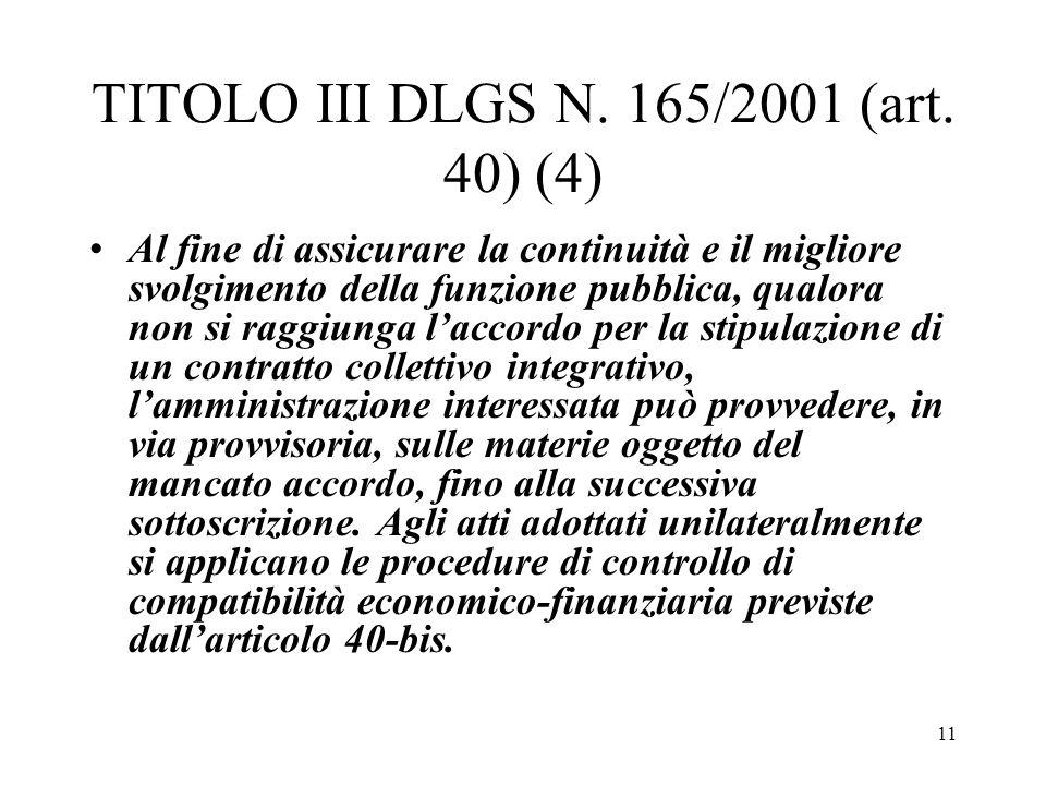 TITOLO III DLGS N. 165/2001 (art. 40) (4)