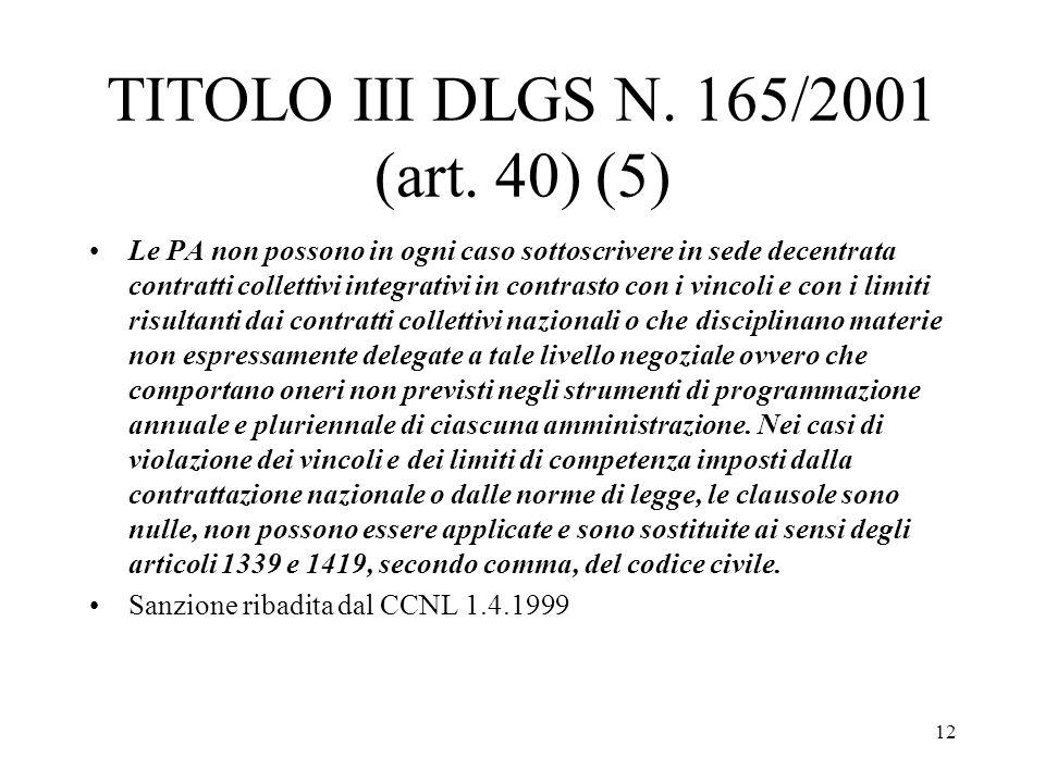 TITOLO III DLGS N. 165/2001 (art. 40) (5)
