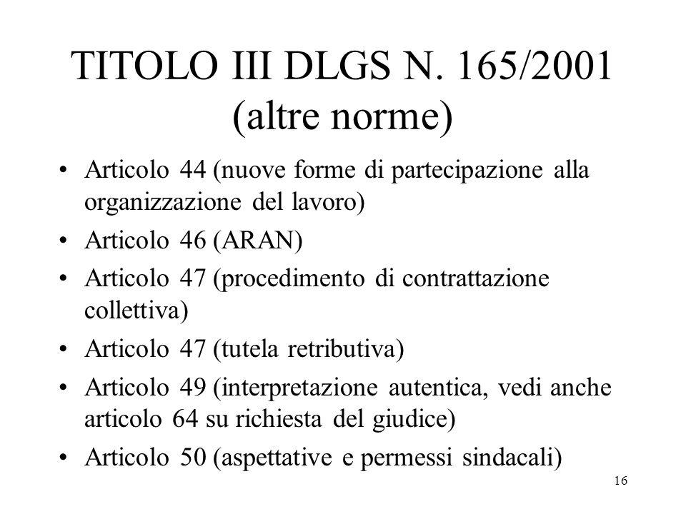 TITOLO III DLGS N. 165/2001 (altre norme)