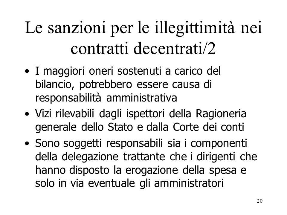 Le sanzioni per le illegittimità nei contratti decentrati/2