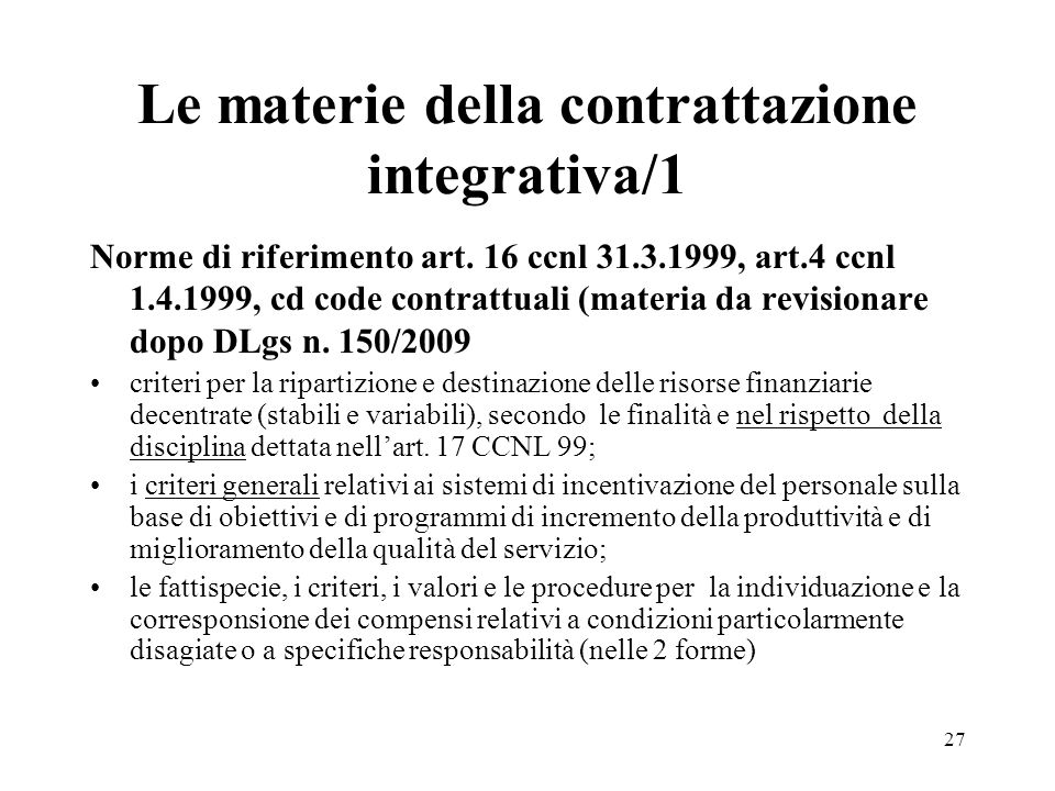 Le materie della contrattazione integrativa/1