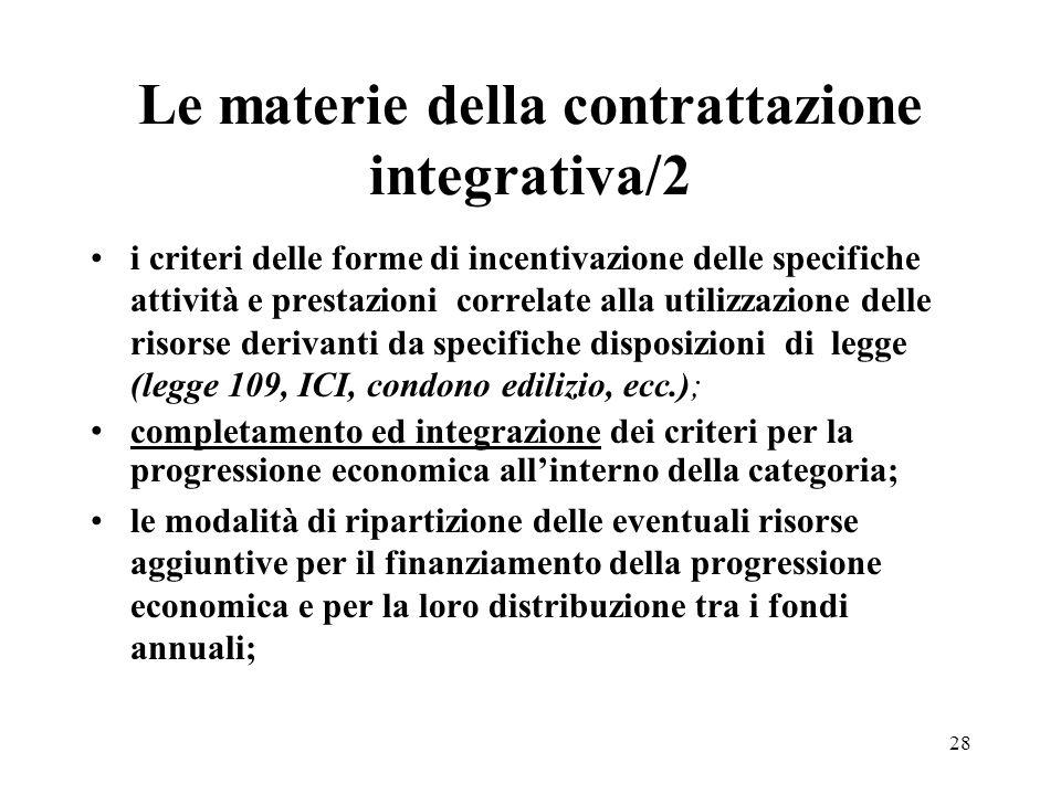 Le materie della contrattazione integrativa/2