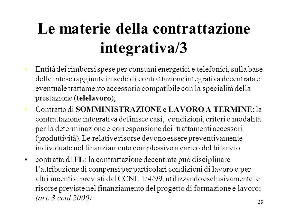 Le materie della contrattazione integrativa/3