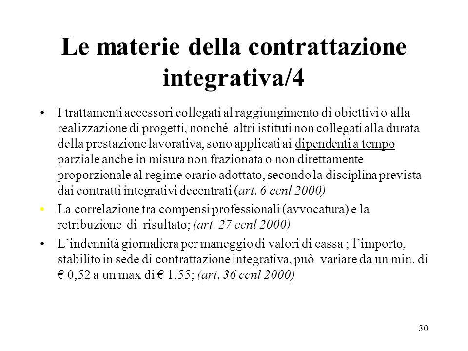 Le materie della contrattazione integrativa/4