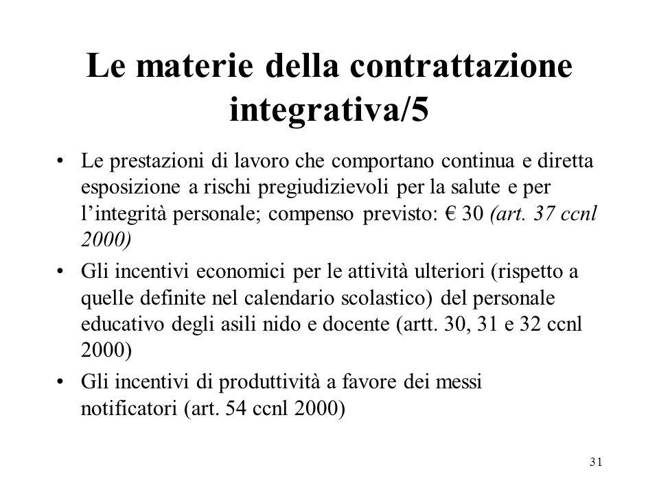 Le materie della contrattazione integrativa/5