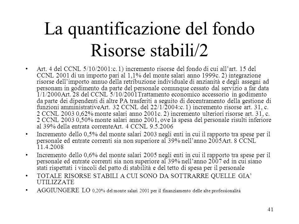La quantificazione del fondo Risorse stabili/2