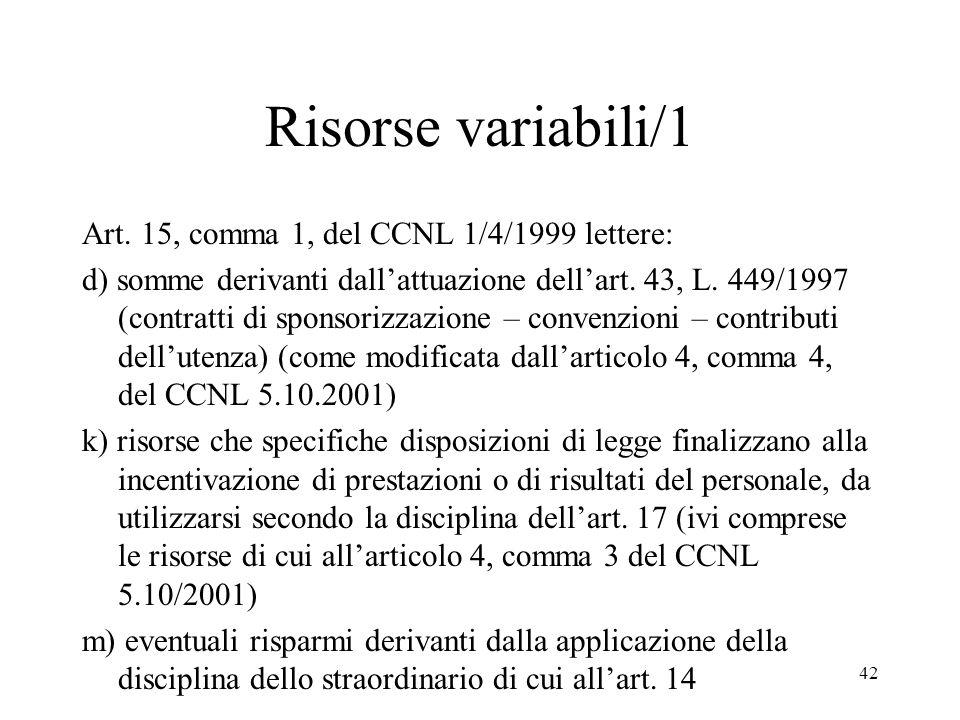 Risorse variabili/1 Art. 15, comma 1, del CCNL 1/4/1999 lettere: