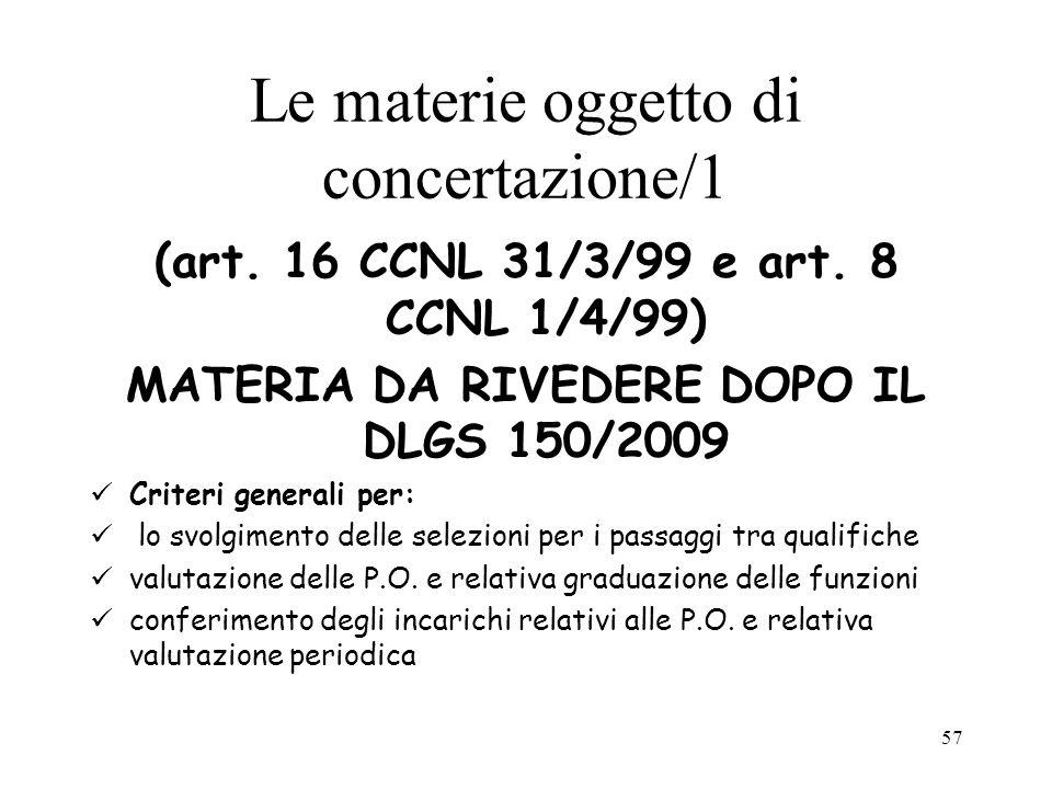 Le materie oggetto di concertazione/1