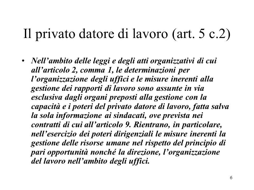 Il privato datore di lavoro (art. 5 c.2)
