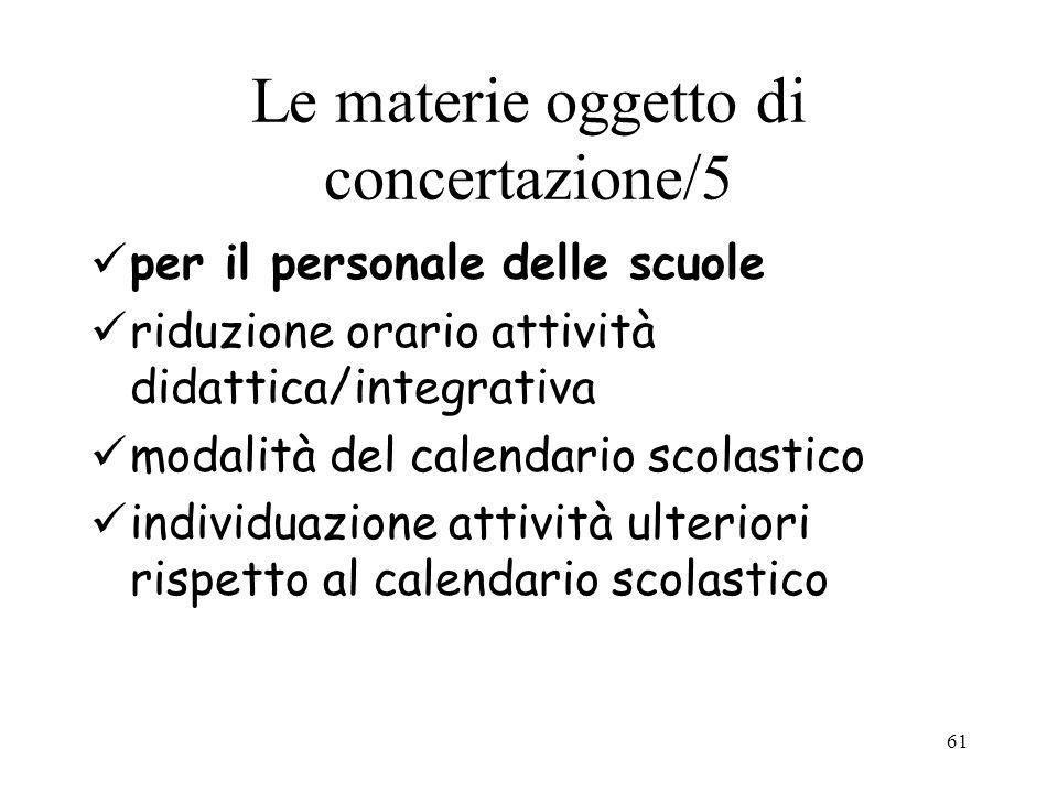 Le materie oggetto di concertazione/5