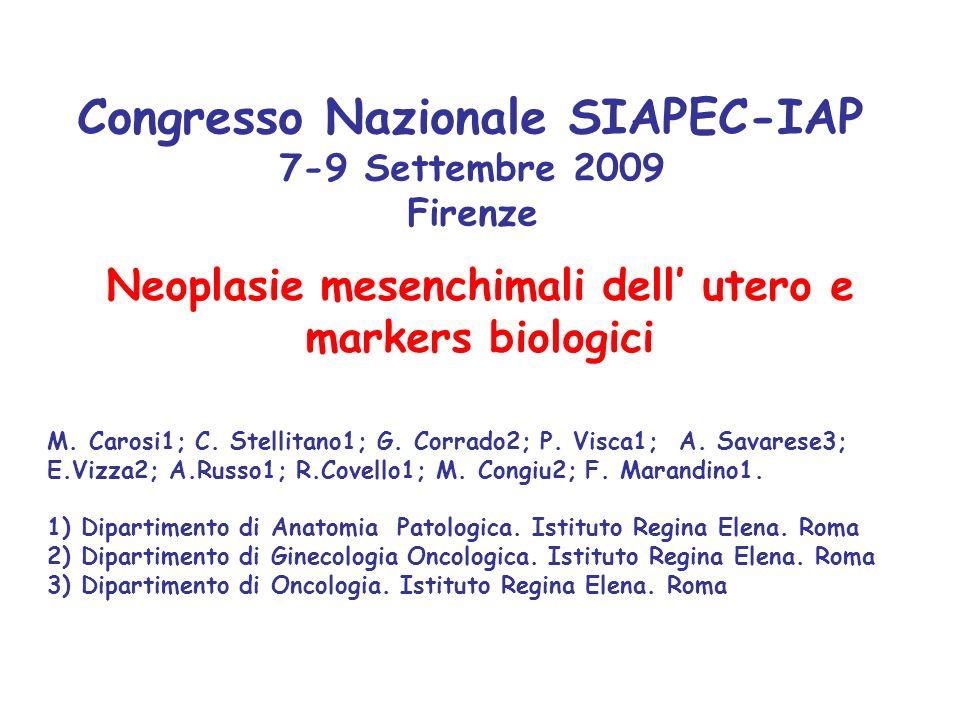 Neoplasie mesenchimali dell' utero e markers biologici