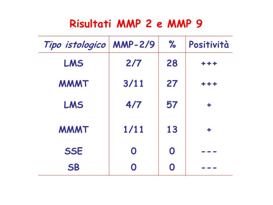 Risultati MMP 2 e MMP 9 Tipo istologico MMP-2/9 % Positività LMS 2/7