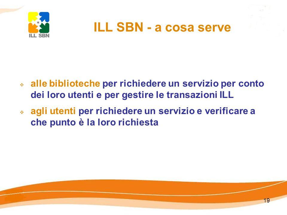 ILL SBN - a cosa servealle biblioteche per richiedere un servizio per conto dei loro utenti e per gestire le transazioni ILL.