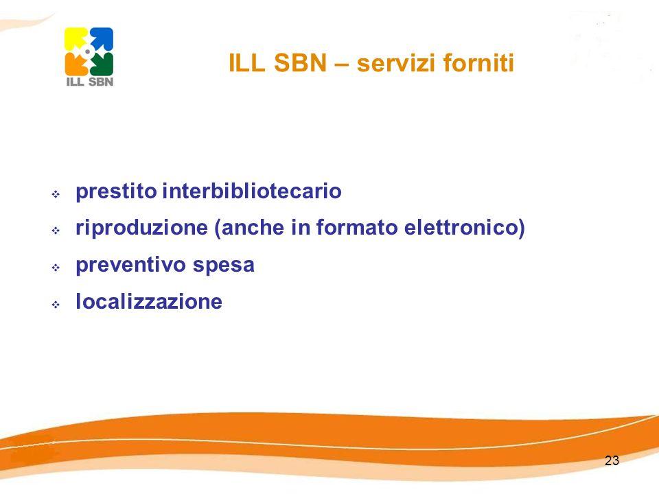 ILL SBN – servizi forniti