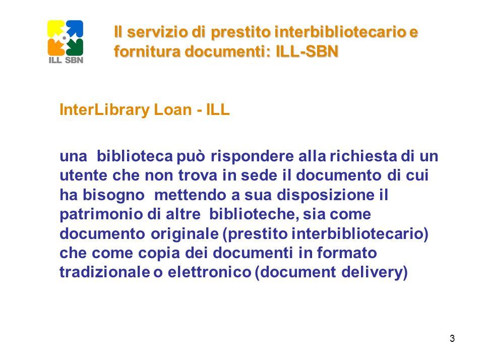 Il servizio di prestito interbibliotecario e fornitura documenti: ILL-SBN