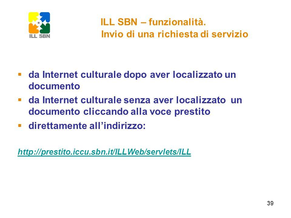 ILL SBN – funzionalità. Invio di una richiesta di servizio
