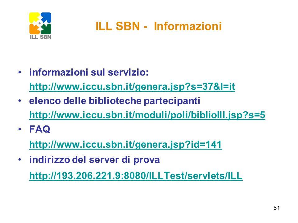 ILL SBN - Informazioni informazioni sul servizio: http://www.iccu.sbn.it/genera.jsp s=37&l=it. elenco delle biblioteche partecipanti.