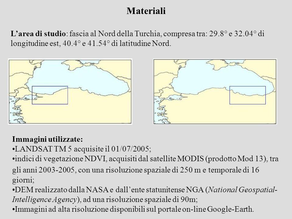 MaterialiL'area di studio: fascia al Nord della Turchia, compresa tra: 29.8° e 32.04° di longitudine est, 40.4° e 41.54° di latitudine Nord.