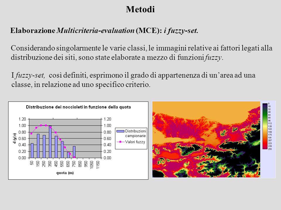 Metodi Elaborazione Multicriteria-evaluation (MCE): i fuzzy-set.