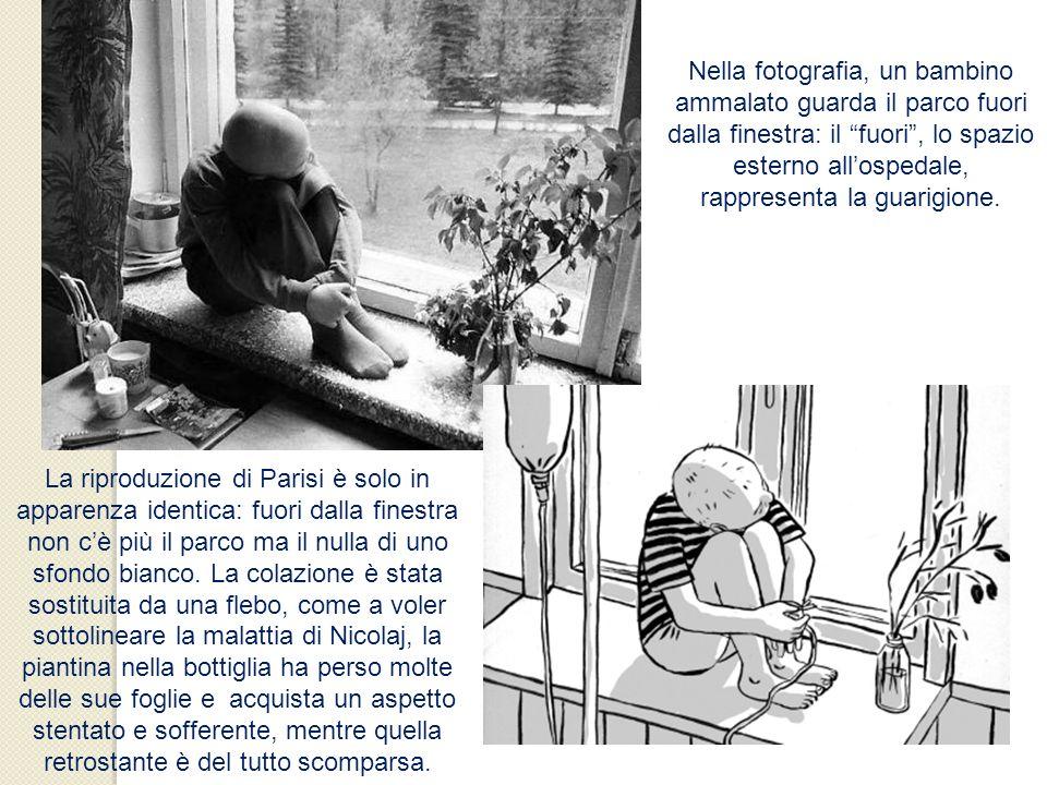 Nella fotografia, un bambino ammalato guarda il parco fuori dalla finestra: il fuori , lo spazio esterno all'ospedale, rappresenta la guarigione.