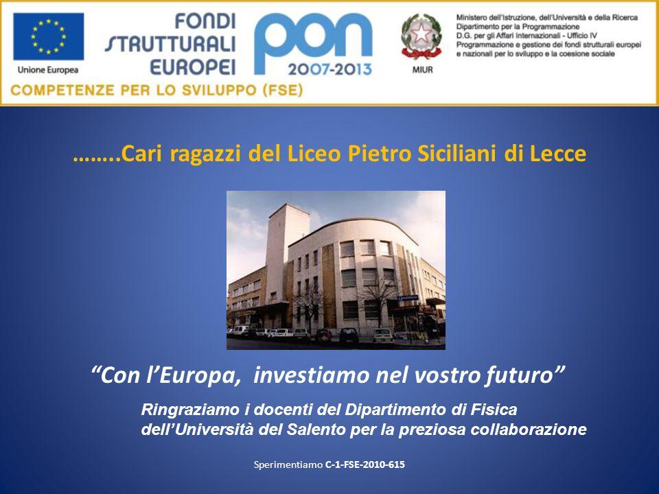 ……..Cari ragazzi del Liceo Pietro Siciliani di Lecce