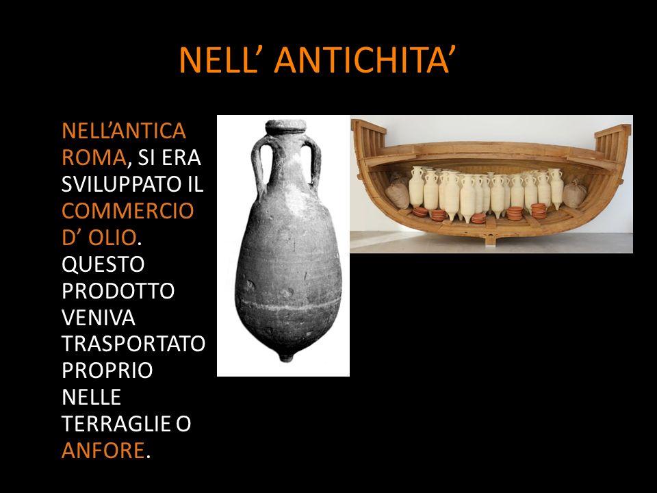 NELL' ANTICHITA' NELL'ANTICA ROMA, SI ERA SVILUPPATO IL COMMERCIO D' OLIO.
