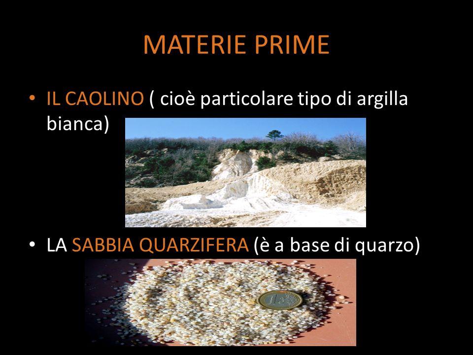 MATERIE PRIME IL CAOLINO ( cioè particolare tipo di argilla bianca)