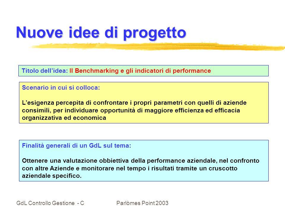 Nuove idee di progetto Titolo dell'idea: Il Benchmarking e gli indicatori di performance. Scenario in cui si colloca: