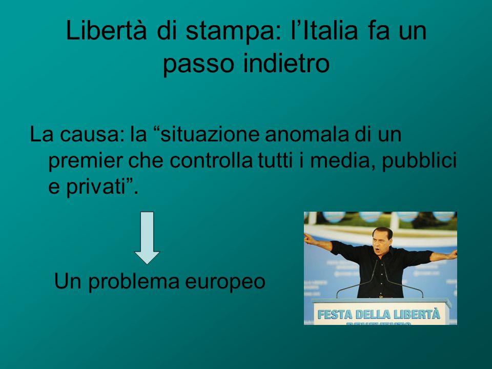 Libertà di stampa: l'Italia fa un passo indietro