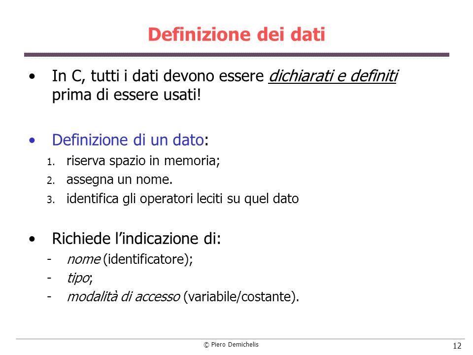 Definizione dei dati In C, tutti i dati devono essere dichiarati e definiti prima di essere usati!