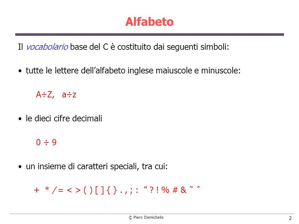 Alfabeto Il vocabolario base del C è costituito dai seguenti simboli: