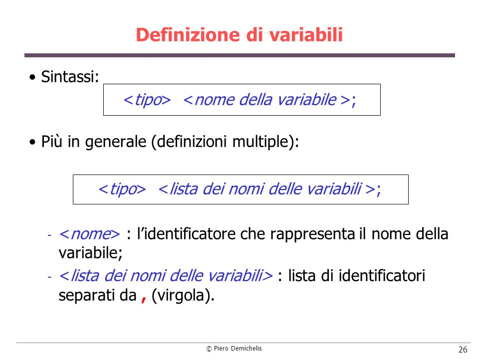 Definizione di variabili