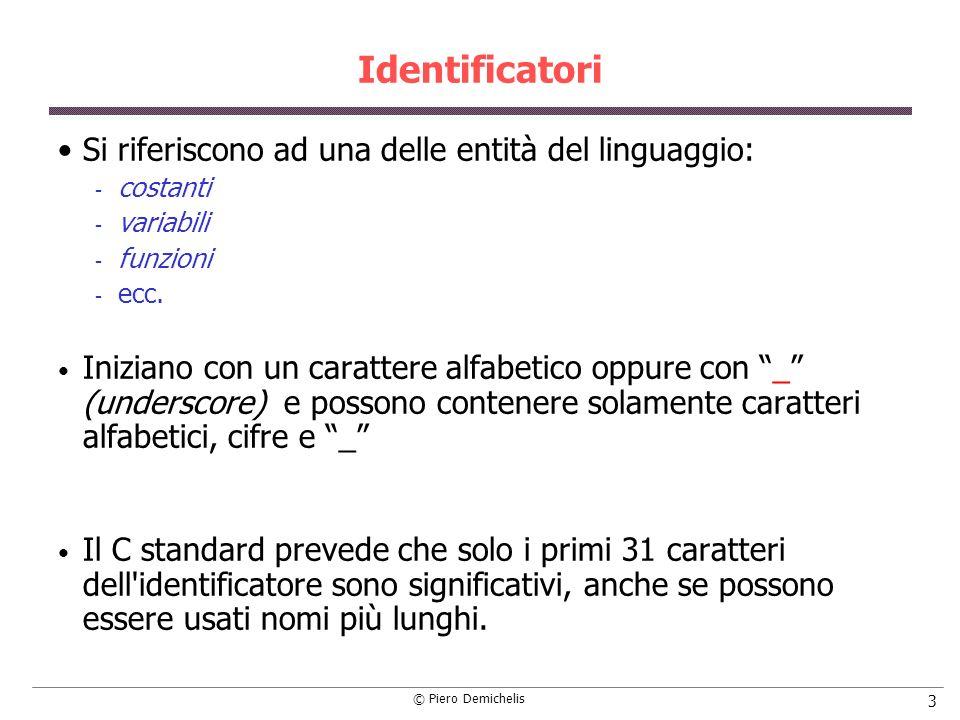 Identificatori Si riferiscono ad una delle entità del linguaggio: