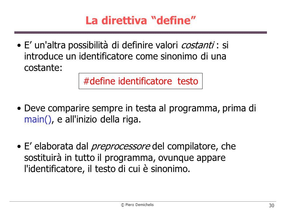 #define identificatore testo