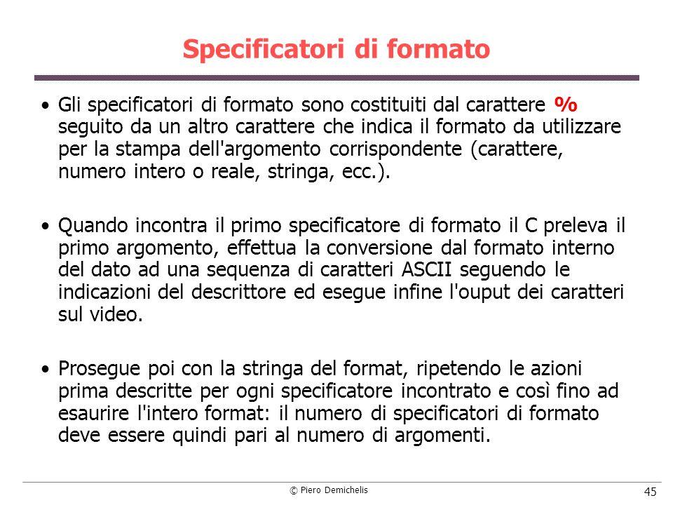 Specificatori di formato