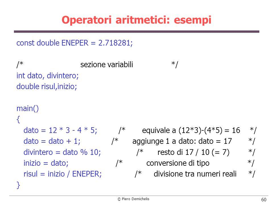 Operatori aritmetici: esempi