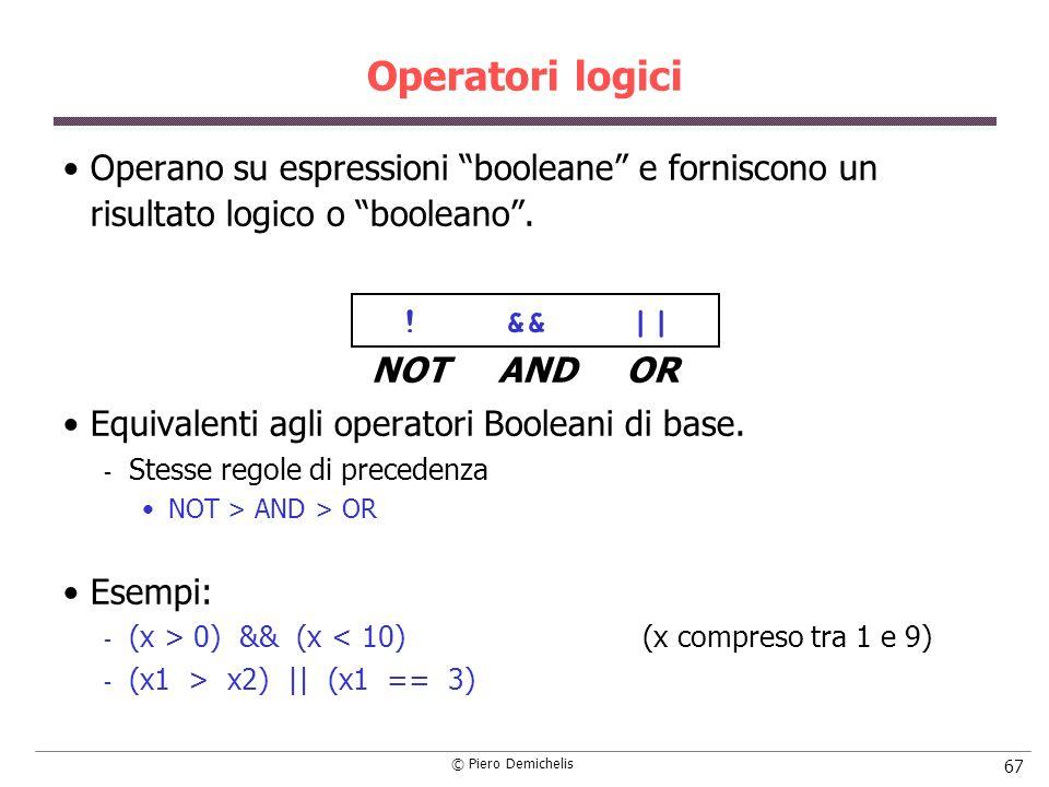 Operatori logici Operano su espressioni booleane e forniscono un risultato logico o booleano . ! && ||