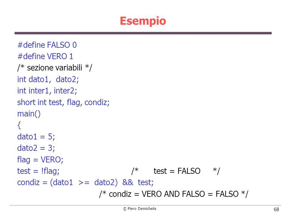 Esempio #define FALSO 0 #define VERO 1 /* sezione variabili */