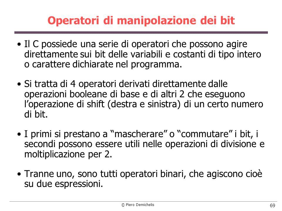 Operatori di manipolazione dei bit