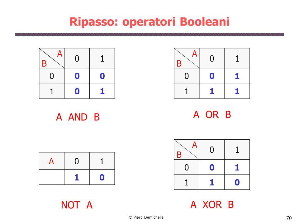 Ripasso: operatori Booleani