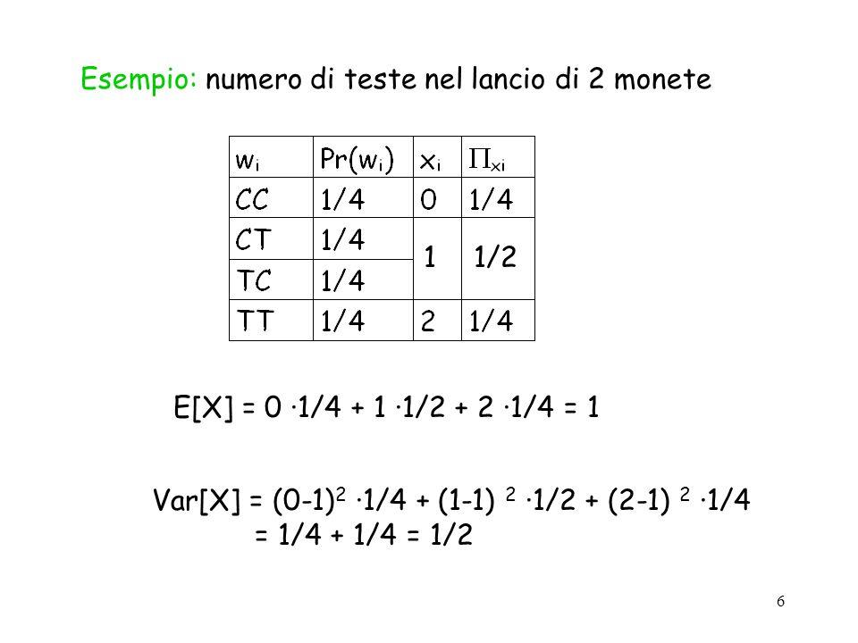 Esempio: numero di teste nel lancio di 2 monete