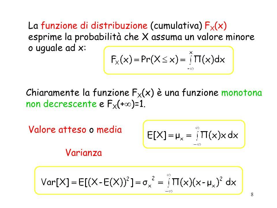 La funzione di distribuzione (cumulativa) FX(x) esprime la probabilità che X assuma un valore minore o uguale ad x: