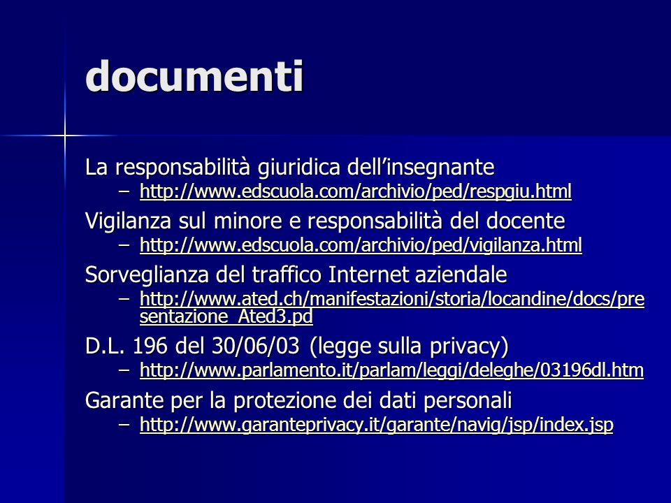 documenti La responsabilità giuridica dell'insegnante