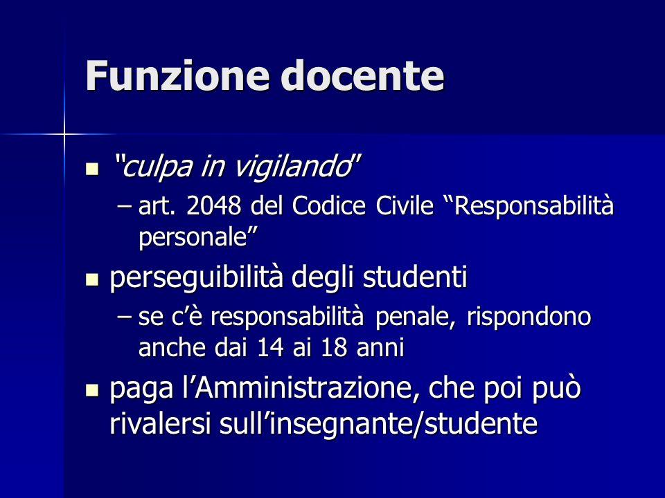 Funzione docente culpa in vigilando perseguibilità degli studenti