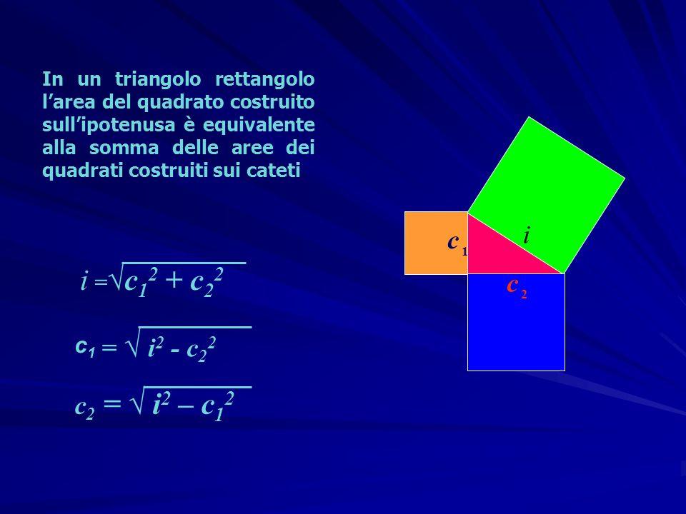 i =√c12 + c22 i c c = √ i2 - c22 c2 = √ i2 – c12 c1