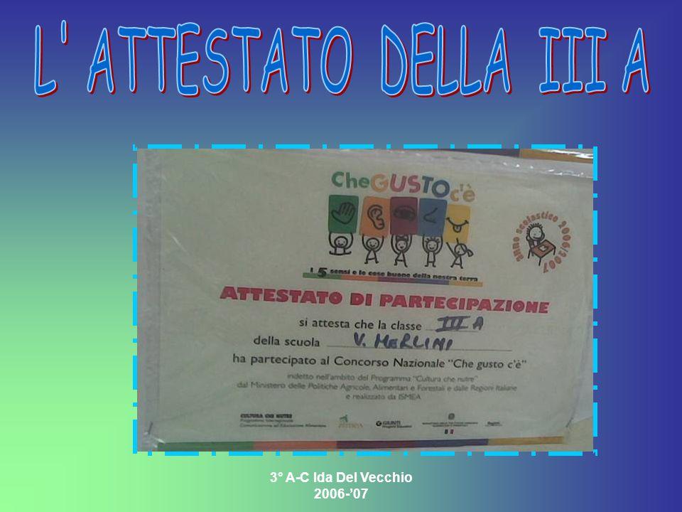 L ATTESTATO DELLA III A 3° A-C Ida Del Vecchio 2006-'07