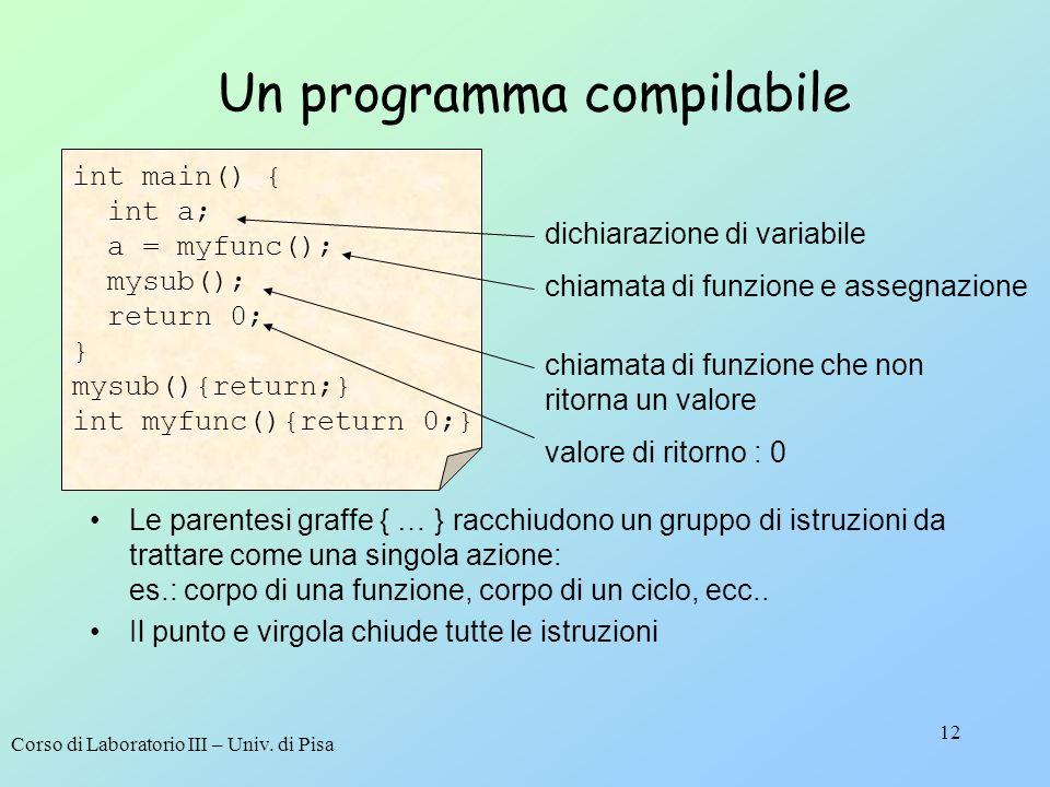 Un programma compilabile