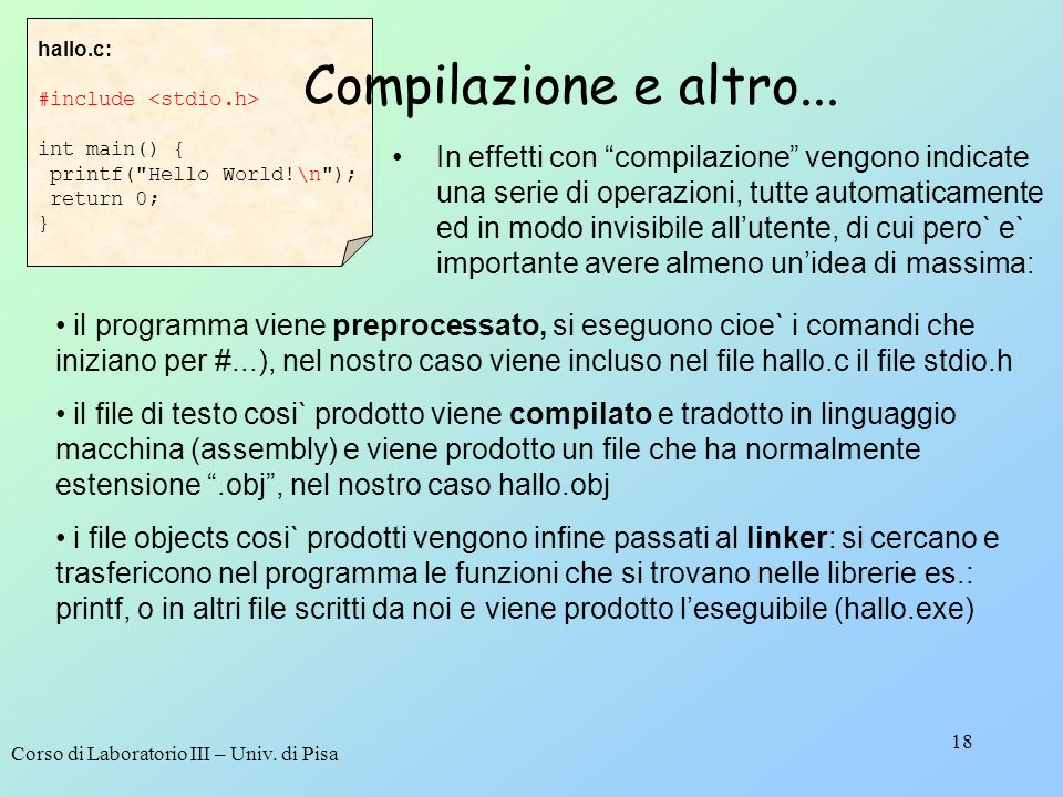 hallo.c: #include <stdio.h> int main() { printf( Hello World!\n ); return 0; } Compilazione e altro...
